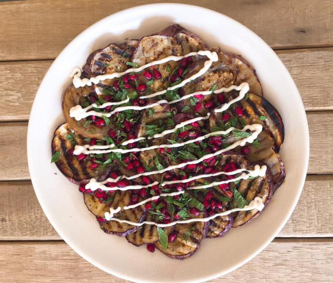 aubergine and pomegranate salad